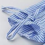 Sunhusing Women's Sexy Off Shoulder Stripes Long Sleeve Shirts Cuffs Bow Tie Shirt Tunic Tops