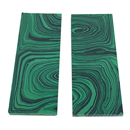 2pcs 35mmx90mmx5mm Green Reconstitute Malachite Turquoise Gemstone Random Color Recon Stone Inlay Billet Sheet Material Knife Handle Blank Scales Scale Slab 03