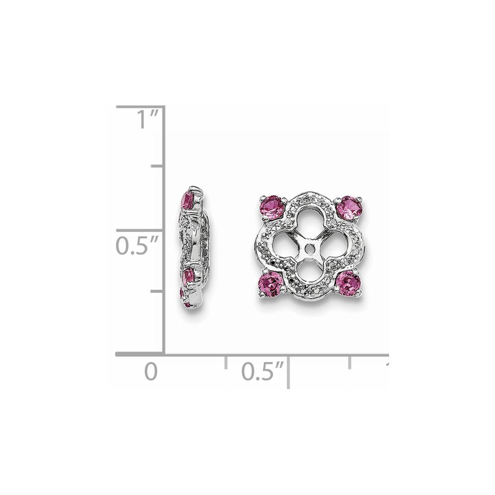 0.01 CTTW, I-J Color, I2 Clarity .925 Sterling Silver Genuine Diamond /& Created Pink Sapphire Earring Jackets