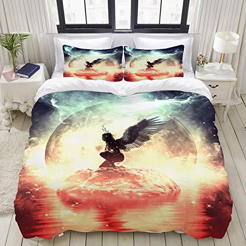 CANCAKA Duvet Cover Set, an Angel in Heaven Land, Custom 3 Piece Bedding Set with 2 Pillow Shams, Queen/Full Size