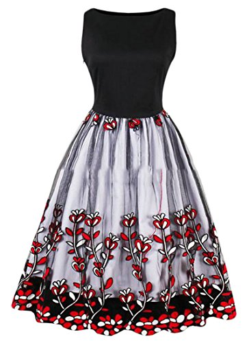 Sleeveless Party Cromoncent Round Big Flared Women Neck Dresses Print Vintage Hem Red wIgzqg