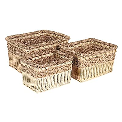 Household Essentials ML-2205 3 Piece Starling Decorative Wicker Storage Basket, Light Brown - Set of 3 nested open storage baskets Hand-woven from willow and Sea grass Decorative weave with 2-tone Natural color palette - living-room-decor, living-room, baskets-storage - 51bIr48OkoL. SS400  -