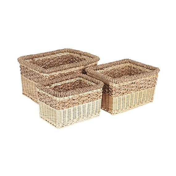 Household Essentials ML-2205 3 Piece Starling Decorative Wicker Storage Basket, Light Brown - Set of 3 nested open storage baskets Hand-woven from willow and Sea grass Decorative weave with 2-tone Natural color palette - living-room-decor, living-room, baskets-storage - 51bIr48OkoL. SS570  -