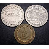 LOT of 3 Gaming Tokens Sahara LAS Vegas, Marina Casino, Paradise Island Casino