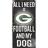 878460038648 Fan Creations - Green Bay Packers Wood Sign - Football and Dog 6x12
