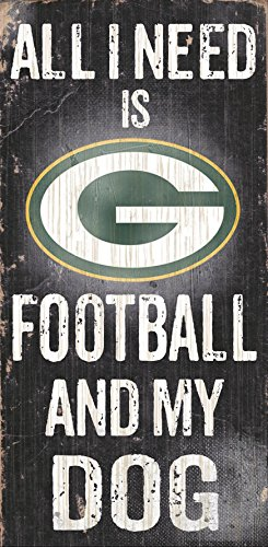 878460038648 Fan Creations   Green Bay Packers Wood Sign   Football And Dog 6X12