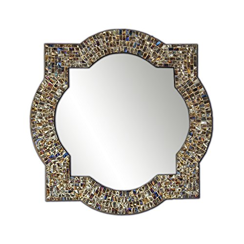 Mission Style Quatrefoil Mirror, Andalusian Lindaraja Designer Mosaic Glass Framed Wall Mirror, 24