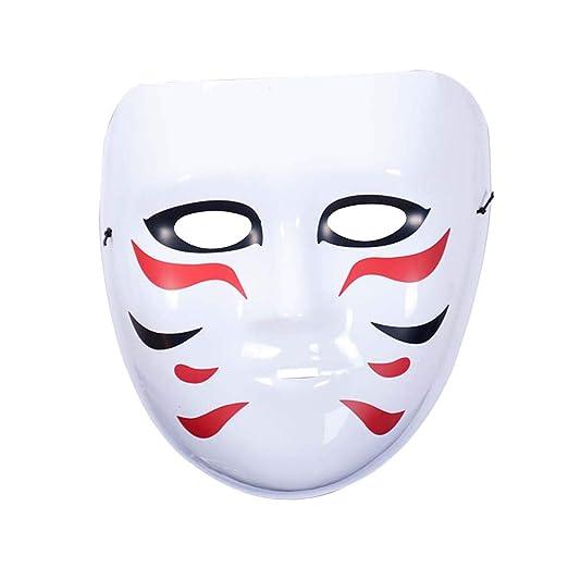 Amosfun Máscara Blanca de Halloween Máscara plástica Japonesa para ...