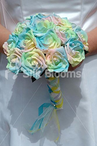 Modern, Contemporary Pastel Coloured Rainbow Rose Bridal Bouquet Contemporary Rose Bouquet