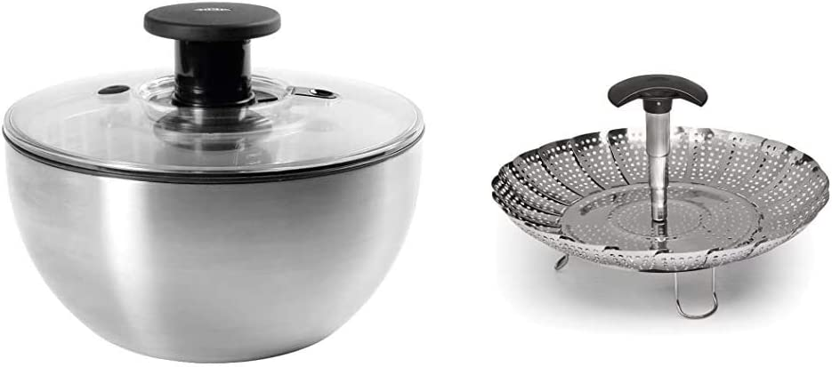 """OXO Steel Salad Spinner & Stainless Steel Good Grips Steamer with Extendable Handle, 7"""""""