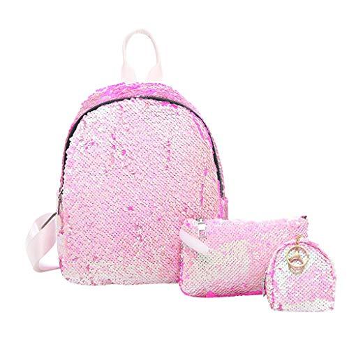 Yoga School Backpack,3PC Women Ladies Fashion Sequins Handbag Purse TotesShoulderBackpacksBags Pink ()