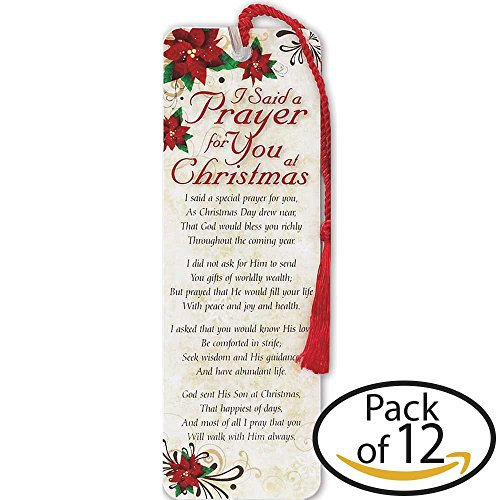 (I Said A Prayer Poinsettia Red 2 x 6 Cardstock Christmas Tassel Bookmark, Pack of 12)