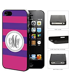 Purple And Pink Stripe With Gray Monogram (Custom Initials) Hard Plastic Snap On Cell Phone Case Apple iPhone 4 4s