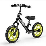 Image of Enkeeo 12″ No Pedal Balance Bike for 2-6Years Old Kids, Carbon Steel Frame, Adjustable Handlebar and Seat, 50kg Capacity, Black
