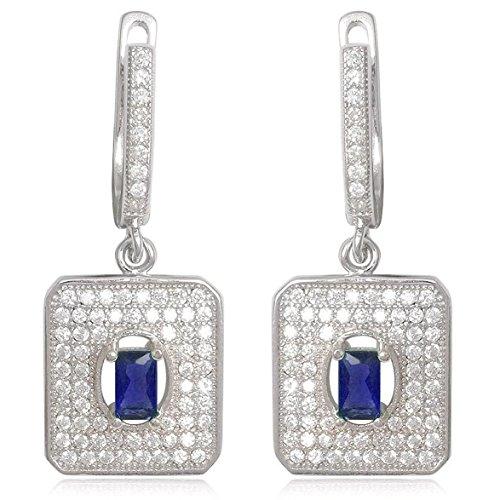 EYS JEWELRY® boucles d'oreilles pour dames anguleux 34 x 13 mm Oxyde de Zirconium argent sterling 925 rhodium bleu avec étui de cadeau pendantes d'oreilles femme