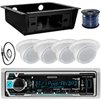 Kenwood KMR-M315BT MP3 Bluetooth Stereo Receiver Bundle Combo W/ Universal Underdash Kit + 4x 3 White Ceiling Speakers + Enrock Radio Antenna + 50Ft Speaker Wire - Golf Car RV Entertainment System