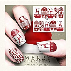 UOKNICE Christmas Nail Art Stamper Gel Tips DIY Stamping Drawing Image Template Stickers Xmas Gift Decorations
