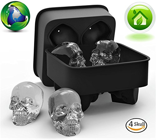 3D Skull Silicone jello Ice Mold Flexible Cube Maker Tray for Halloween and Christmas Party. Best for Whiskey and Cocktails