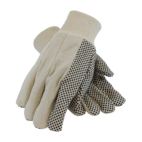 PIP 91-910PDI Economy Grade Cotton Canvas Glove with PVC Dot Grip on Palm, Thumb and Forefinger, 10 oz.