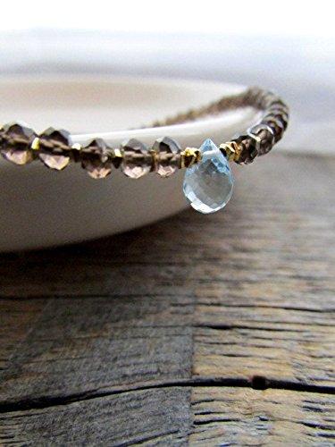 Quartz Stack (Blue Topaz Bracelet, Smoky Quartz Bracelet, Bead Stack Bracelet, Gemstone Bracelet, November Birthstone, December Birthstone, Topaz Jewelry 3mm-6x5mm 7