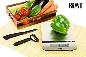 BRAVIT 4 in 1 Digital Multifunctional Kitchen and Food Scale with Stainless Steel Platform