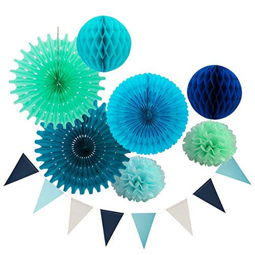 Hanging Tissue Paper Fan Party Decorations Kit, Pom Poms Flower Honeycomb Ball Triangle Banner Flag for Birthday Baby Shower Blue Mint Party Decorations Sea Themed Party Favor Beach Party Supplies