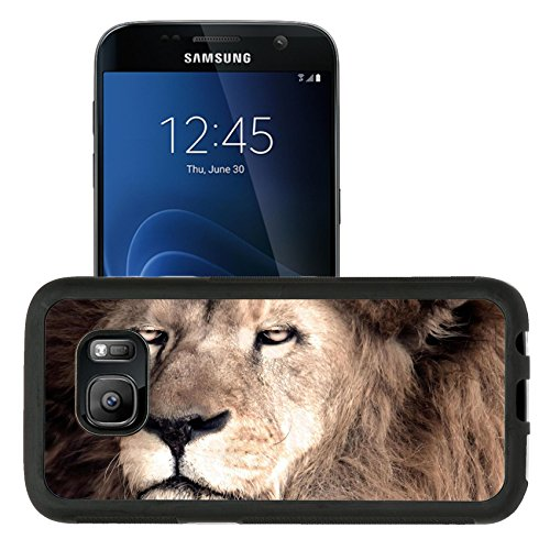 Liili Premium Samsung Galaxy S7 Aluminum Snap Case Male African Lion Panthera leo IMAGE ID (African Lion Panthera Leo)