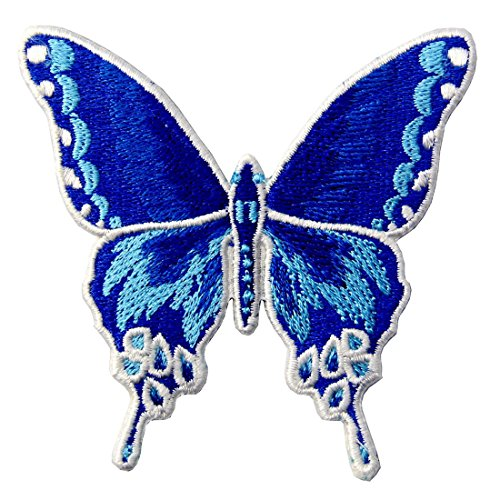 Butterfly Embroidered Badge Iron On Sew On Patch, Blue