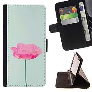 Momo Phone Case / Flip Funda de Cuero Case Cover - Flor Rosa Azul Primavera Naturaleza - Huawei Ascend P8 Lite (Not for Normal P8)