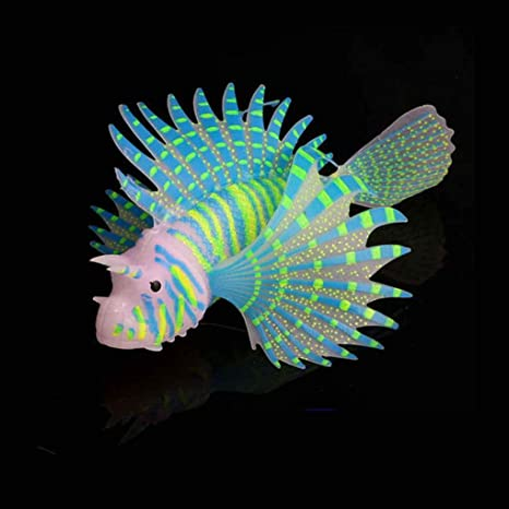 Lorsoul Paisajismo Acuario Decoración Fluorescente Simulación Glow Lion Fish Tropical Fish Tank Ornamental