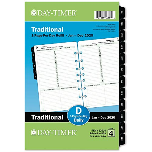 (Day-Timer 2020 Daily Planner Refill, One Page Per Day, 5-1/2