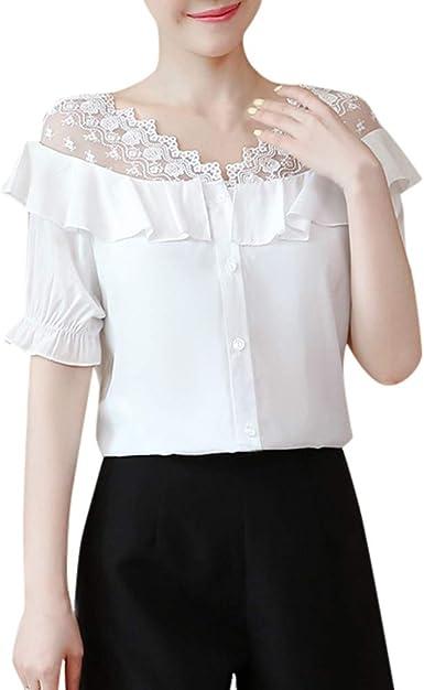 MOTOCO Mujer Top Camisa Camiseta Sólido con Cuello en V Manga Corta con Volantes Blusa de Manga Suelta Top Camisa de Verano para Mujer(XL, Blanco): Amazon.es: Ropa y accesorios