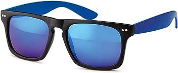 Unisex Wayfarer Kunststoff Sonnenbrille mit verspiegelten Revo-Gläsern UV400 Filter- Im Set mit Etui