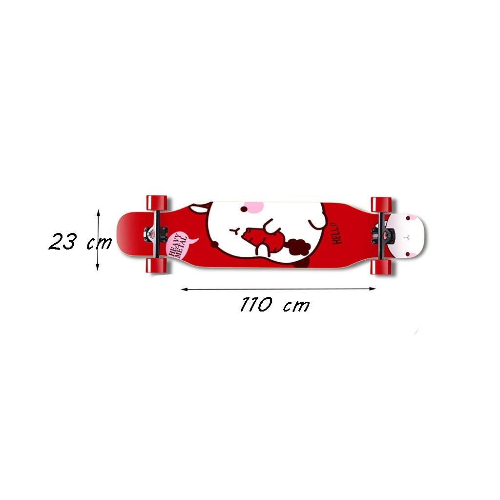HXGL-Skateboard Skateboard Long Board Professional Board Four Wheeler Dance Board Brush Street Beginner Girl Male Generation Person Teen (Color : Red) by HXGL-Skateboard (Image #7)