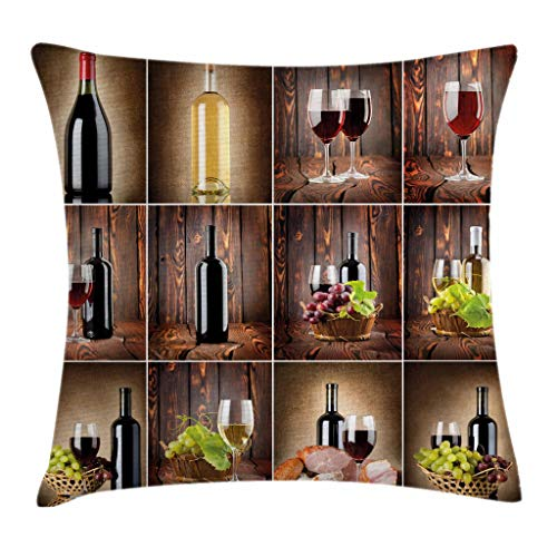 Ambesonne Wine Throw Pillow Cushion Cover, Wine Themed Collage on Wooden Backdrop with Grapes and Meat Rustic Country Drink, Decorative Square Accent Pillow Case, 16 X 16 Inches, Brown Black ()