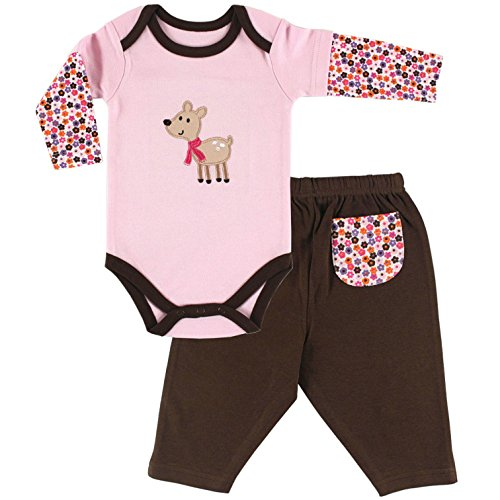Hudson Baby Baby-Girls Long Sleeve Bodysuit and Pant Set, Deer, 3-6 Months