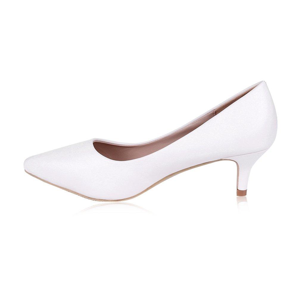 755ff72528 Amazon.com | Buganda Women's Sexy Elegant Low Kitten Heel Shoes PU Leather Pointed  Toe Classic Pumps 5cm White | Pumps