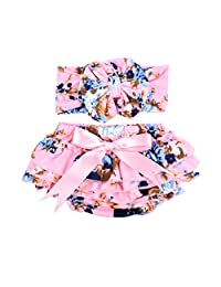 Czofnjes Baby Girls Diaper Cover Outfit Beauty Soft Newborn Bloomer and Headband Set