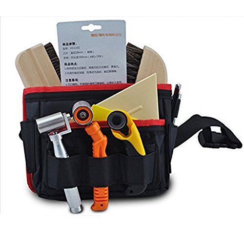 Rigid Canvas Tool Bag Heavy Duty Workshop Tool Pouches with Waist Belt Compact Portable Waterproof Small Utility Holder Bag Best for Men Women Handymen Carpenter Woodworking HSZ-15-B-US #10 Pockets by Hense