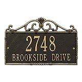 Whitehall Allendale Address Plaque Victorian Design (2 Line, Black/Gold)