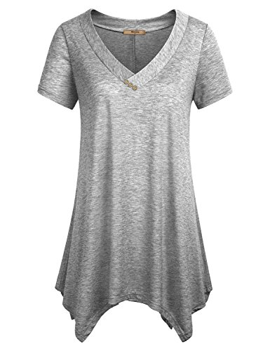Miusey Short Sleeve Long Tunic, Womens V Neck Shirts Summer Comfy Flattering Flowy Pleats Fashion Elegant Modest Loft Comfy Relax Fit Boutique Knits Clothing Trendy Soft Trapeze Maternity Top Gray L