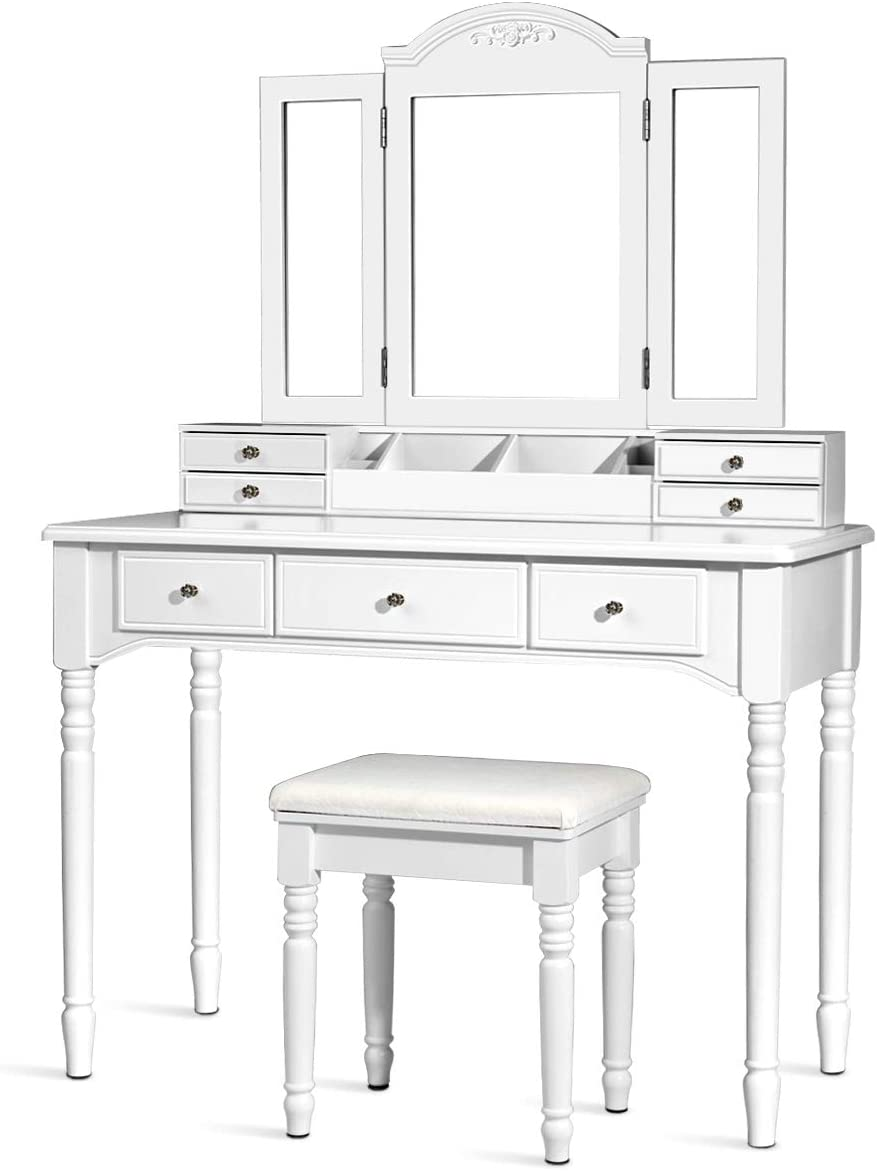 CHARMAID Vanity Set with Tri-Folding Mirror 8 Necklace Hooks, 7 Drawers, 2 Dividers, 6 Desktop Makeup Organizers, Makeup Dressing Table with Cushioned Stool for Women Girls White