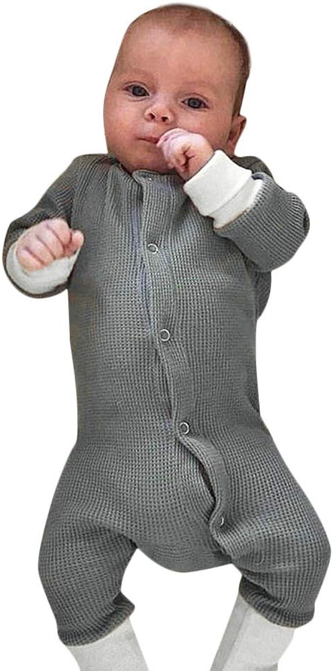 BeautyTop Baby Unisex Langarm Stricken Spielanzug Baby M/ädchen Jungen Solid Baumwolle Strampler Einfarbig Strampelanzug Herbst und Winter Kinderkleidung