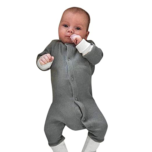6b3a0385e22e Amazon.com: On Sale 0-24 Months Toddler Infant Newborn Baby Girls Solid  Button Romper Jumpsuit Bodysuit Warm Outfits Clothing: Clothing