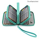 BTSKY PU Leather Colored Pencil Case with Compartments-72 Slots Handy Pencil Holder for Watercolor Pencils, Gel Pens and Ordinary Pencils (Green)