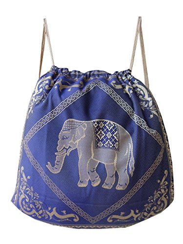 Borsa ginnastica, borsa sportiva, cotone zaino, tessuto con motivo elefante