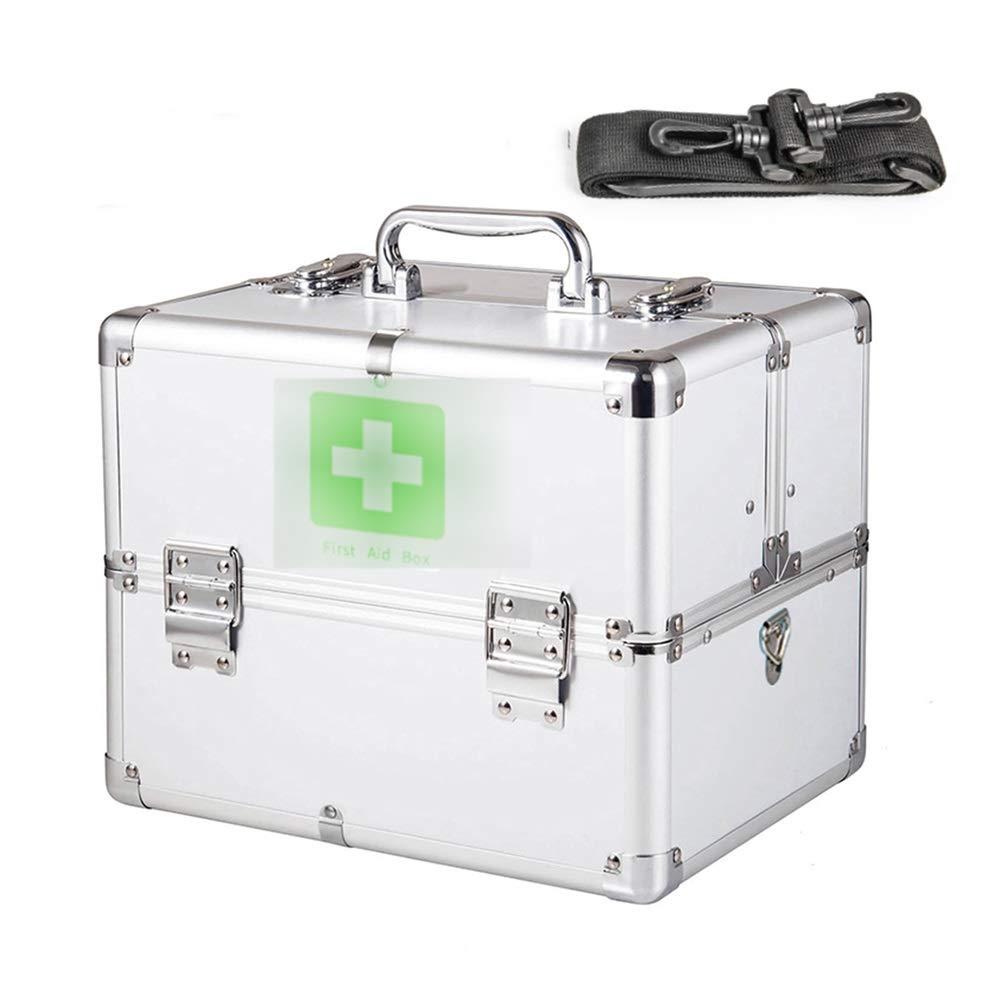 アルミ合金ポータブルダブルオープンデザイン大容量家庭用医薬品収納ボックス3サイズあり (サイズ さいず : 大 だい) B07RSPVRLS  大 だい