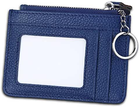 Slim RFID Blocking Card Wallet,Gazigo Minimalist Leather Credit Cards Holder with ID Window and Keychain