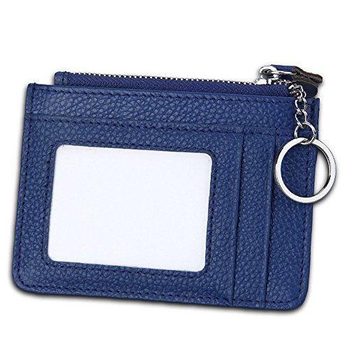 Girl Card Holder (Slim RFID Blocking Card Wallet,Gazigo Minimalist Leather Credit Cards Holder with ID Window and Keychain (Slim RFID Blocking Card Wallet Blue))