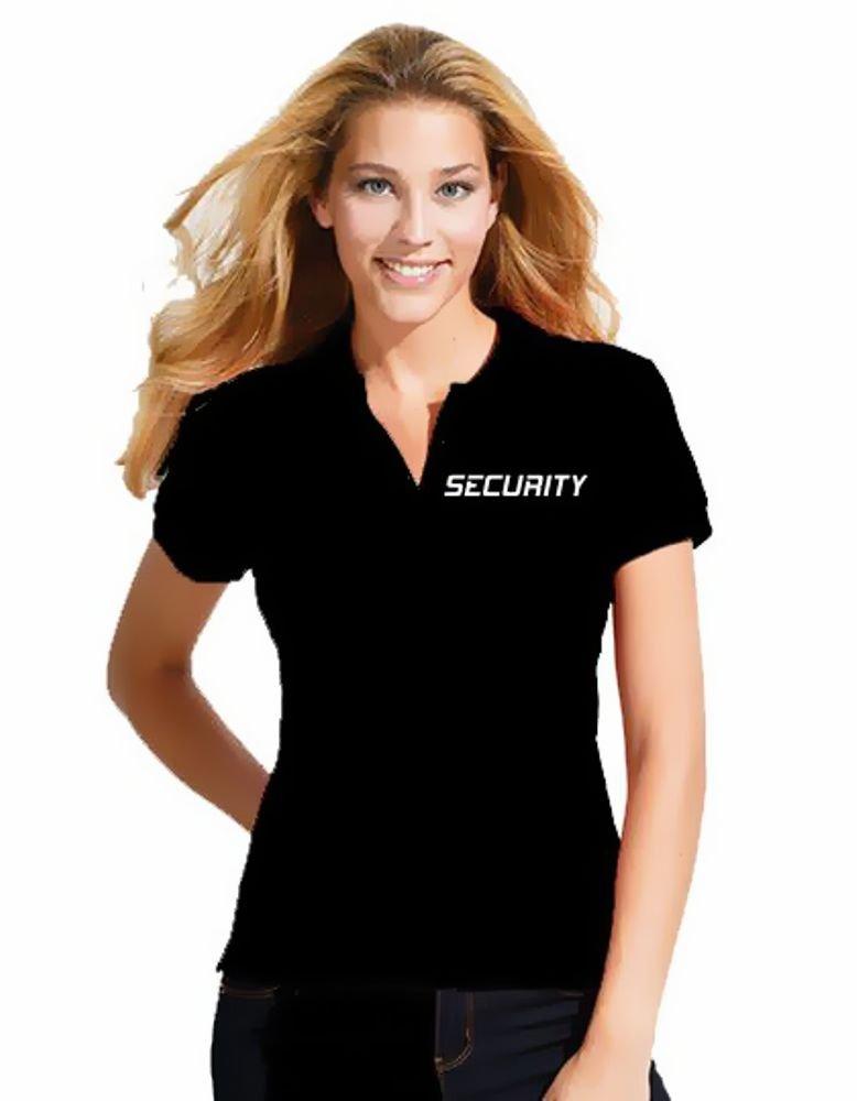SECURITY - Damen Poloshirt + CAP ! Set schwarz S M L XL 2XL Druck vorne und hinten ! Coole-Fun-T-Shirts
